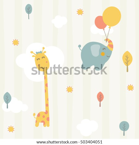 cute giraffe and baby elephant seamless pattern