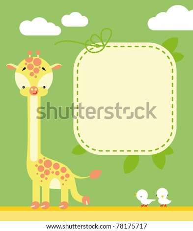 Cute giraffe and birds in cartoon style and blank sign for your message - stock vector