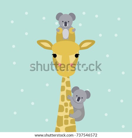 Cute giraffe and koala bear colored looking straight at you. Vector illustration. Modern design.