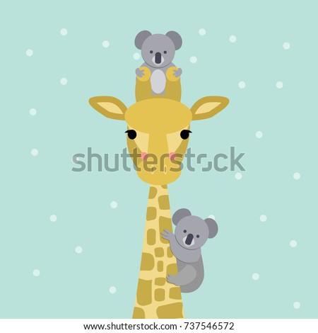 cute giraffe and koala bear