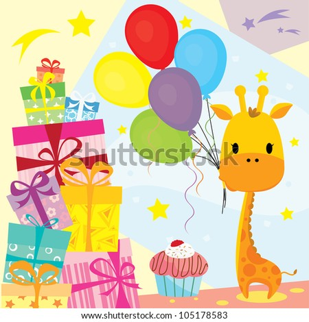 Cute Giraffe in a birthday party celebrating with gifts, balloon, cake - design element, vector illustration