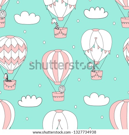 Cute giraffe, lion, zebra fly in balloons in the sky. Creative  kids texture for fabric, wrapping, textile, wallpaper, apparel. Vector illustration.