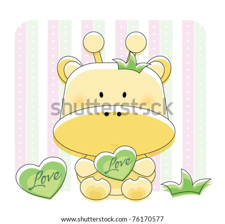 Cute giraffe with background design - stock vector