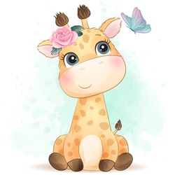 Cute giraffe with watercolor effect