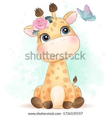 Cute giraffe with watercolor effect Foto stock ©