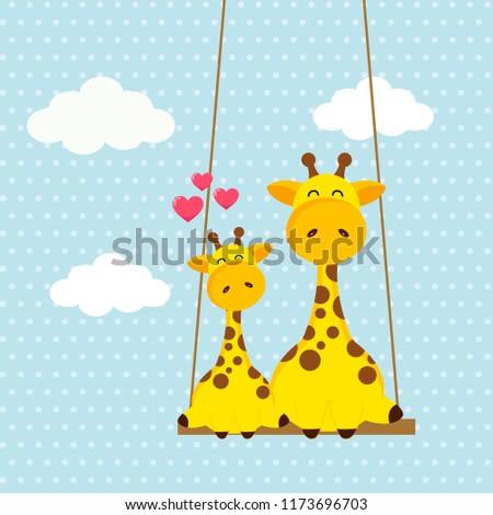 cute giraffes sitting together