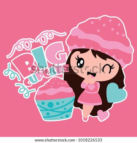 stock-vector-cute-girl-and-big-cupcake-vector-cartoon-illustration-for-kid-t-shirt-background-design-postcard