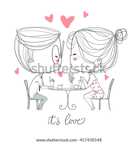 cute girl and boy in cafe