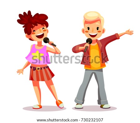 cute girl and boy singing into
