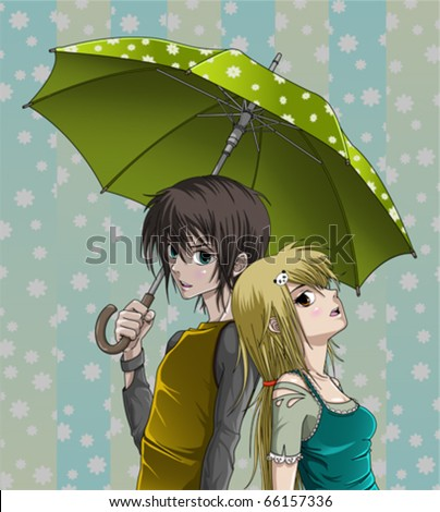 cute girl and boy with umbrella