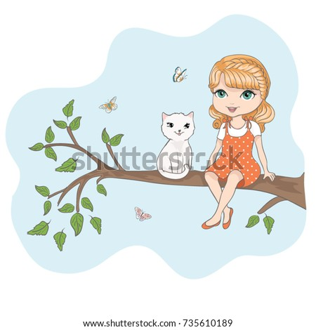cute girl and little cat vector