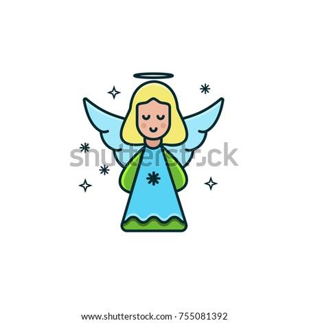 cute girl angel flat color line