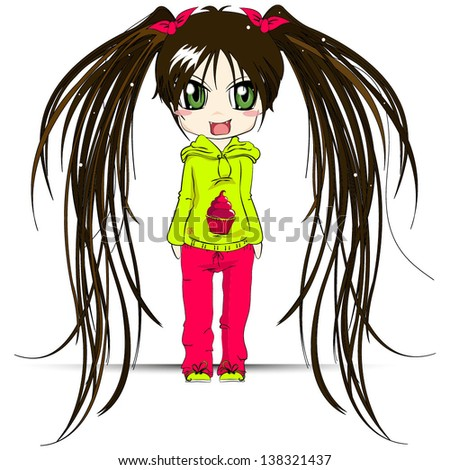 Stock Photo Cute girl Cartoon character on white background Vector illustration