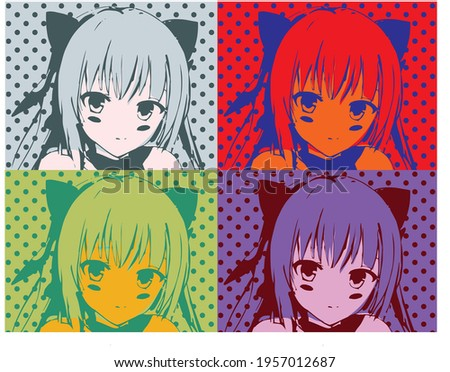 cute girl character japan anime style. anime girl comic cartoon concept vector illustration.
