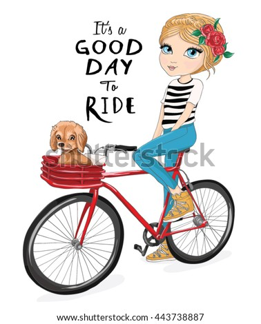 Cute girl character with bike vector.