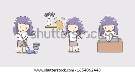 cute girl cleaning doing