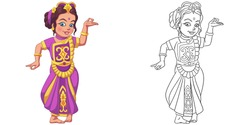Cute girl dancing indian classic dance. Coloring page and colorful clipart character. Cartoon design for t shirt print, icon, logo, label, patch or sticker. Vector illustration.