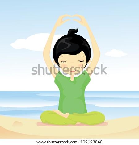 Cute girl doing yoga at the beach