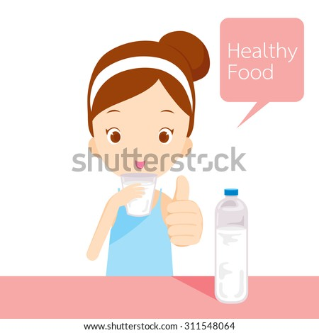 Cute girl drinking water, organic, nutrition, medicine, mental and physical health