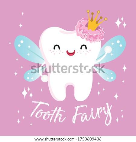 Cute girl fairy tooth vector cartoon illustration for oral dental hygiene, kawaii character: Series smiling teeth- card and Print for t-shirt.