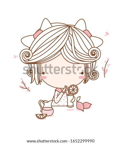 Cute girl, fashion girl, young girl. sweet girl drink lemon juice. Flat character design. vector illustration for the t-shirt, print book, greeting card
