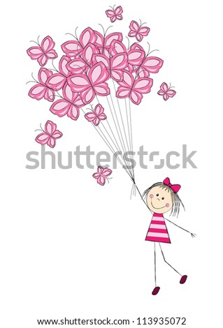 Cute girl flying with butterflies