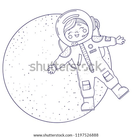 Stock Photo Cute girl for coloring book.Girl in astronaut costume flies. Line art design.Isolated on white background.Vector illustration