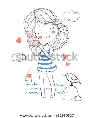 Cute girl holding a seashell next to her ear