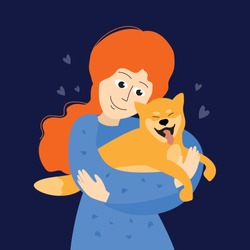 Cute girl hugging Shiba Inu. Pet care illustration. Japanese breed dog in woman hands. Happy smiling puppy. Design for dog sitter, walker, trainer, boarding, hostel or vet clinic. Vector poster, flyer
