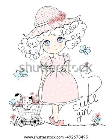 cute girl  illustration cute
