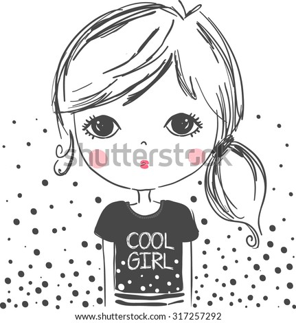 cute girl illustrationfor