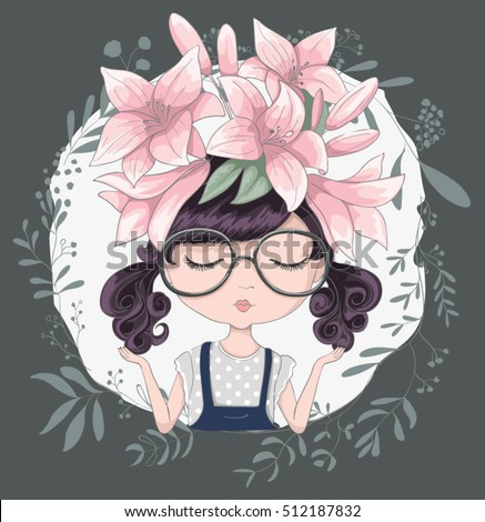 Cute girl illustration in flowers.