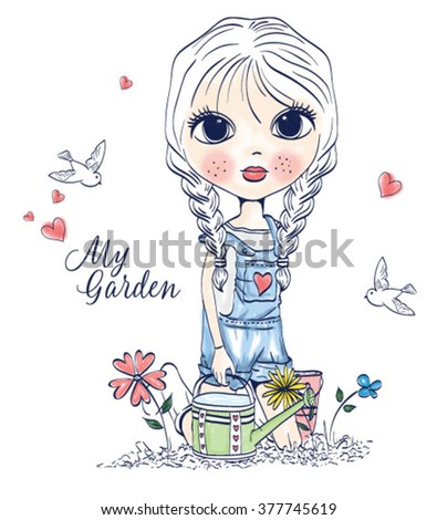 cute girl in a garden