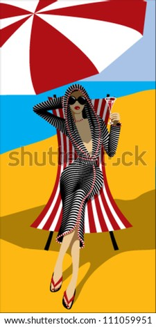 Cute girl in a striped bathrobe, wearing sunglasses on a deck chair under a sun umbrella.
