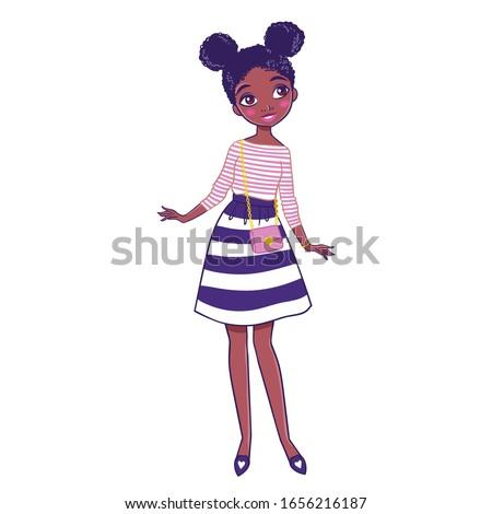 Cute girl in nice dress. Children vector illustration.