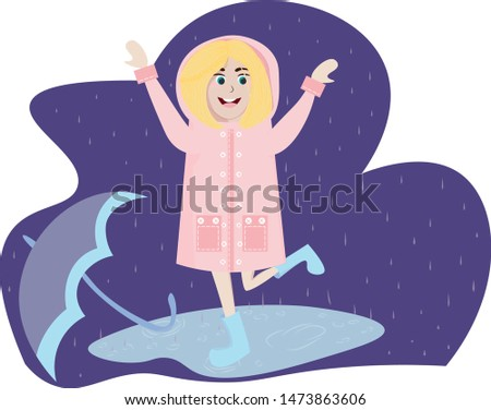 cute girl in pink raincoat and