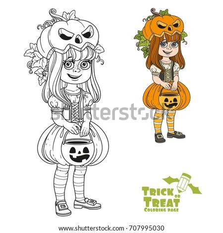 cute girl in pumpkin costume