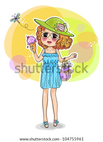 cute girl in summer dress holding an ice cream (JPEG version available in my gallery)