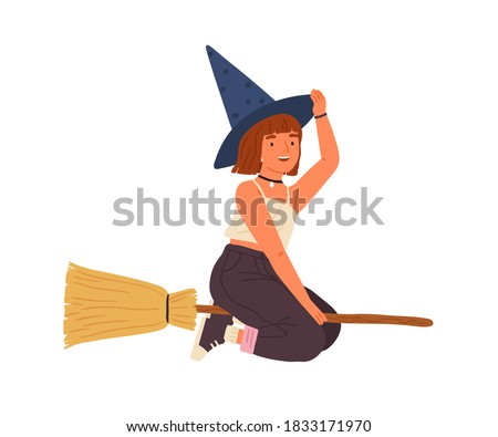 Cute girl in witch hat flying on broomstick. Happy female wizard or sorcerer sitting on magic broom. Young magician with red hair. Flat vector cartoon illustration isolated on white Zdjęcia stock ©