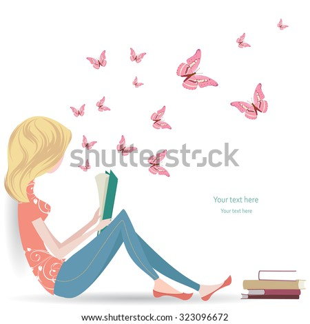 cute girl is reading a sweet