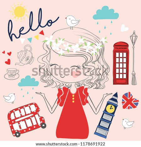 Cute girl london vector. Pretty fashion girlish illustration for t-shirt design. Girlish print with camera, bus, Big Ben, british flag.Cartoon character