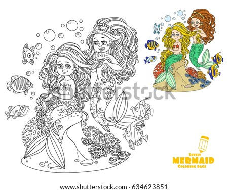 Cute girl mermaid plait braids friend mermaid coloring page on white background