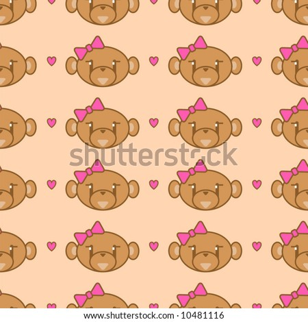 Cute girl monkey background - seamless. - stock vector