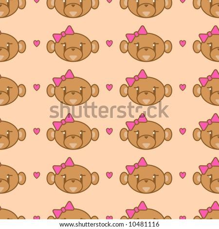 Cute girl monkey background - seamless.