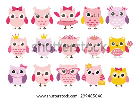 cute girl owls vector set baby