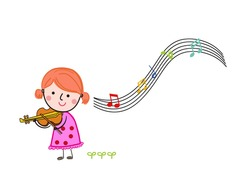 Cute girl playing the violin. Isolated character girl with a violin on a white background.