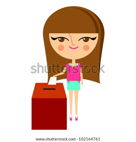 Cute girl putting her ballot into the vote box (vector version) - stock vector