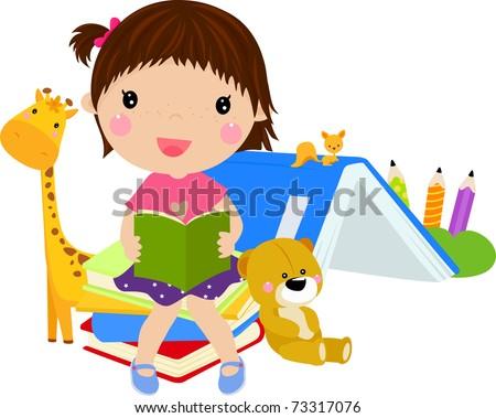 cute girl reading book - stock vector