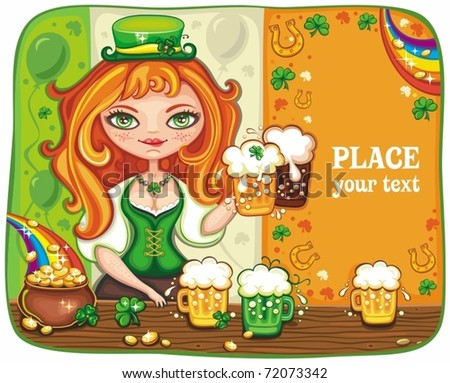 Cute girl serving Saint Patrick's Day beer - vector banner with space for your text.
