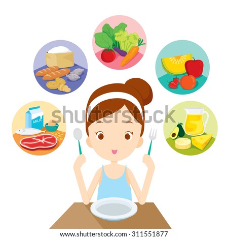 Cute girl sitting and ready to eat the 5 food groups, organic, nutrition, medicine, mental and physical health, category